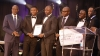 At the Development Bank of Namibia Good Business Awards, held on 26 October 2016, Octagon Construction received the Emerging Enterprise Award from Hon. Tom Alweendo, Minister in Charge of the National Planning Commission. The company, a construction enterprise which operates across Namibia, received finance from the Bank. Pictured FLTR are Minister Tom Alweendo, George Hainana (Octagon), Indileni Kandele (Octagon), DBN CEO Martin Inkumbi, Lukas Betwel (Octagon) and Bruh Ayele (Octagon)