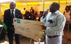 Caption: Good studying is good for development. Development Bank of Namibia CEO, Martin Inkumbi, (left) donated N$50,000 on behalf of the Bank to Romanus Kamunoko Secondary School in Rundu. The donation will contribute to construction of its school hall. The school currently rents premises when its learners have to write exams.
